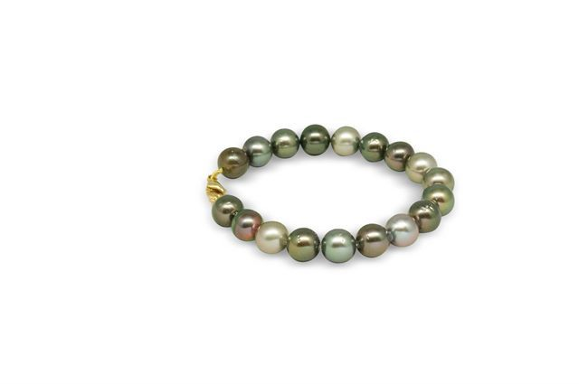 BRACELET FERMOIR OR 375‰ PERLE TAHITI RSR Ø9-9,5MM CAT A-B