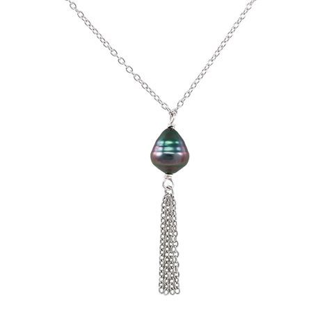 COLLIER TAHIA ARGENT 925‰ PERLE TAHITI DP Ø9-10MM CAT B-C