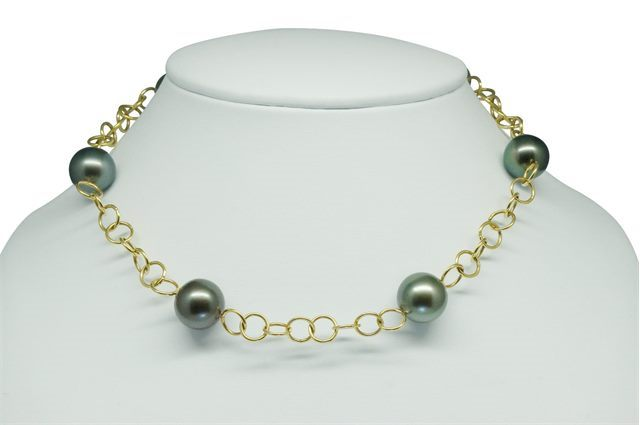 COLLIER MAILLE RONDE OR 750‰ PERLE TAHITI x6 RSR Ø13,5-14MM CAT A-B