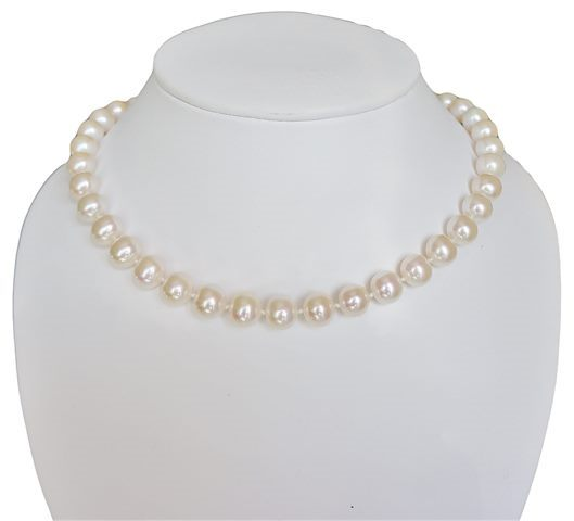 COLLIER FERMOIR BOULE OR 585‰ PERLE D'EAU DOUCE BLANCHE RSR Ø10-11MM