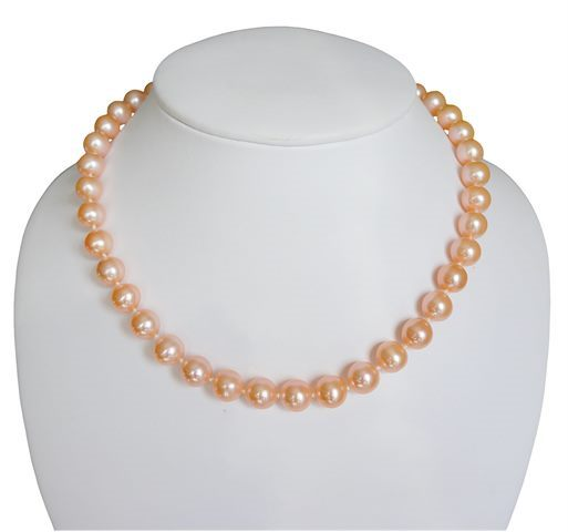 COLLIER FERMOIR BOULE OR 585‰ PERLE D'EAU DOUCE ROSE NATURELLE RSR Ø10-11MM