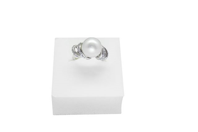 BAGUE PALAWAN OR BLC 375‰ ZIRCONIA PERLE MERS DU SUD BLANCHE SR Ø11MM CAT (GIA)